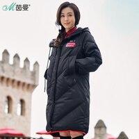 INMAN Hooded Printing Leisure Ladies Female Girl Winter Long Duck Down Leather Warm Coat Women Jackets Fashion Overcoat