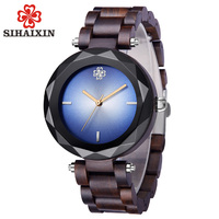 SIHAIXIN Diamond Watch Women Wood New Arrival 2019Relojes Para Mujer Exquisite Quartz Wooden Ladies Watches Accept Drop Shipping