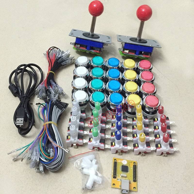 Arcade mame DIY KIT FOR 2 players PC PS/3 2 IN 1 to arcade joystck LED button interface USB 2 player MAME Interface USB to Jamma рубашка мужская greg horman цвет темно синий 2 171 20 1392 размер 40 48