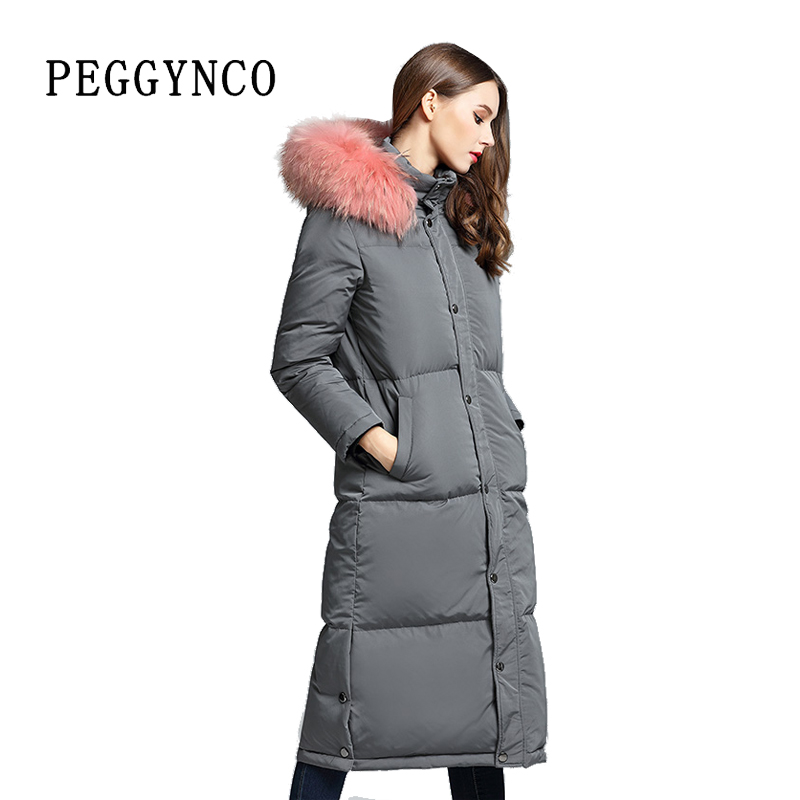 Women Winter Elegant Long Parka Gray Raccoon Real Fur Collar Fashion Cotton Coat with Detachable Collar Plus Size Overcoat 2017 winter new clothes to overcome the coat of women in the long reed rabbit hair fur fur coat fox raccoon fur collar