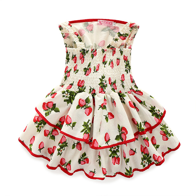1c8aa5ab7 Ins Hot New Summer Strawberry Stamp Princess Dress Girls Baby Frock ...