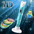 1.75mm ABS/PLA DIY Pluma Impresión 3D LED/Lcd 3D Pluma Pluma de La Pintura + Filamento + adaptador de Diseño Creativo Juguete de Regalo Para Niños de Dibujo