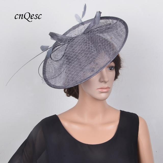 6f8892f677b32 NEW DARK GREY Big saucer base fascinator sinamay hat hatinator hair  accessory w ostrich spine