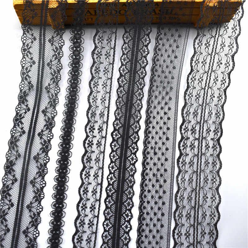 10 Yards/lot Nero Del Merletto Del Nastro Del Nastro Dei Vestiti Dei Monili Del Vestito Ricamato In Pizzo Trim Nastri di Tessuto Cucito FAI DA TE Decorazione Applique