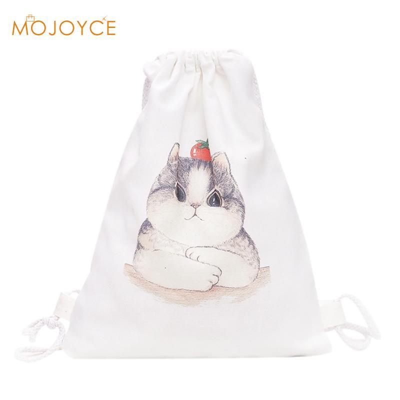Canvas Printed Drawstring Backpacks Pineapple Cat Printed Portable Travel Shopping Bag School Shoes