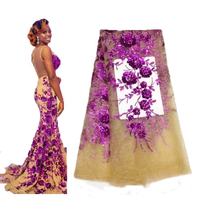 Ev ve Bahçe'ten Kumaş'de Moda 3D Işlemeli Fransız tül dantel kumaş yeni tasarım örgü kumaş yüksek kalite dikiş için Parti düğün elbisesi 5 metre'da  Grup 1