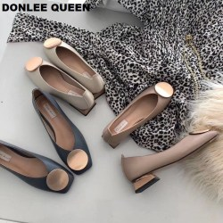 DONLEE QUEEN Women Flats Shoes Low Wooden Low Heel Ballet Square Toe Shallow Buckle Brand Shoes Slip On Loafers zapatos de mujer