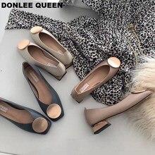 DONLEE kraliçe kadın Flats ayakkabı düşük ahşap alçak topuk bale kare ayak sığ toka marka ayakkabı üzerinde kayma loaferlar zapatos de mujer