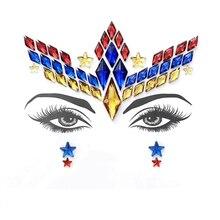 Женские украшения для лица блестящие стразы для глаз украшение для тела тату наклейки на Хэллоуин рождественские музыкальные вечерние макияж 4 шт./лот