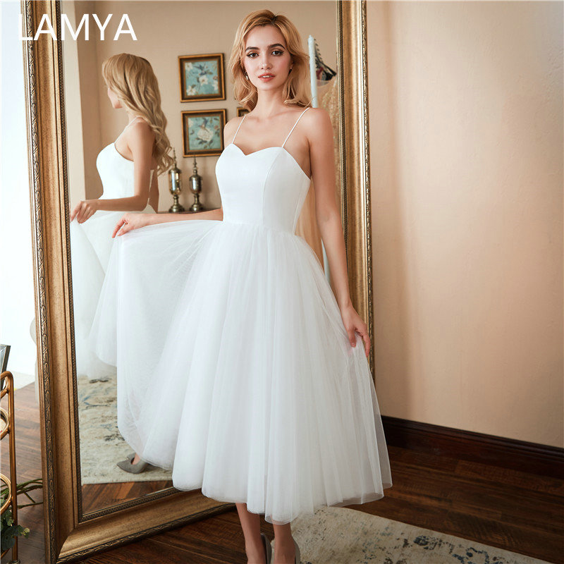 LAMYA White Tea Length Wedding Dress Sweetheart Simple Bridal Gowns Elegant Beach Bridal Party Dresse Plus Size Vestido De Noiva