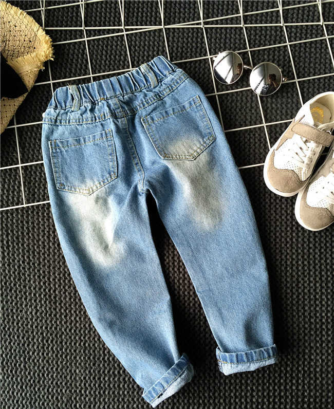 742be196 ... 2018New Children's Jeans Boys Girls High Quality Fashion All Match Hole  Jeans Cotton100% Solid Leisure ...