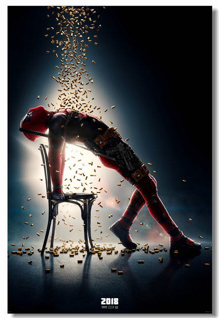 Custom Canvas Wall Decal Marvel Deadpool 2 Poster Comics Stickers Funny Movie Wallpaper Cafe