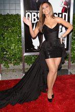Beyonce Mermaid Liebsten Paillette Chiffon Mini Rüschen Schwarz Roter Teppich-berühmtheit Kleider