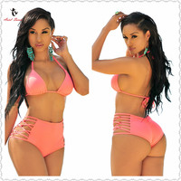 Ariel Sarah Brand 2017 Sexy Bikini Set Swimwear Women Pink Bandage High Waist Hollow Swimsuit Bathing