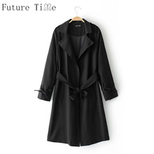 Future Time Women Windbreaker Long Sleeve Cardigan Jackets Female Lace Up Bow Tie Coats Ladies Solid Open Stitch Outwear WT138