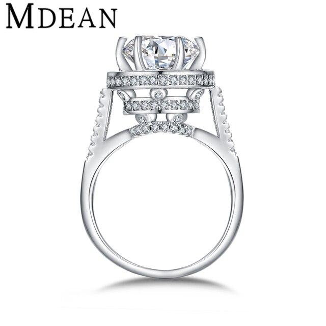 MDEAN Белый Позолоченный Кольца для женщин обручальное винтаж bijoux круглые кольца CZ Ювелирные Изделия с бриллиантами Bague свадебные женщины Кольца MSR412