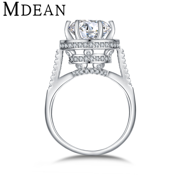 MDEAN White Gold Plated Rings for women engagement vintage bijoux round ring CZ diamond Jewelry Bague wedding women Rings MSR412