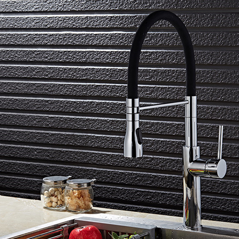 MTTUZK Brushed Nickel chrome Kitchen Sink Faucet Deck Mount Pull Out Dual Sprayer Nozzle Hot Cold Mixer Taps Universal faucet swanstone dual mount composite 33x22x10 1 hole single bowl kitchen sink in tahiti ivory tahiti ivory