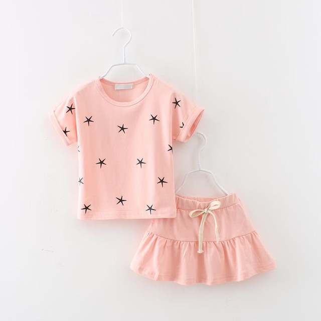 Free Shipping New summer fashion girl clothing Sets fashion print star T-shirt and skirts girls clothes