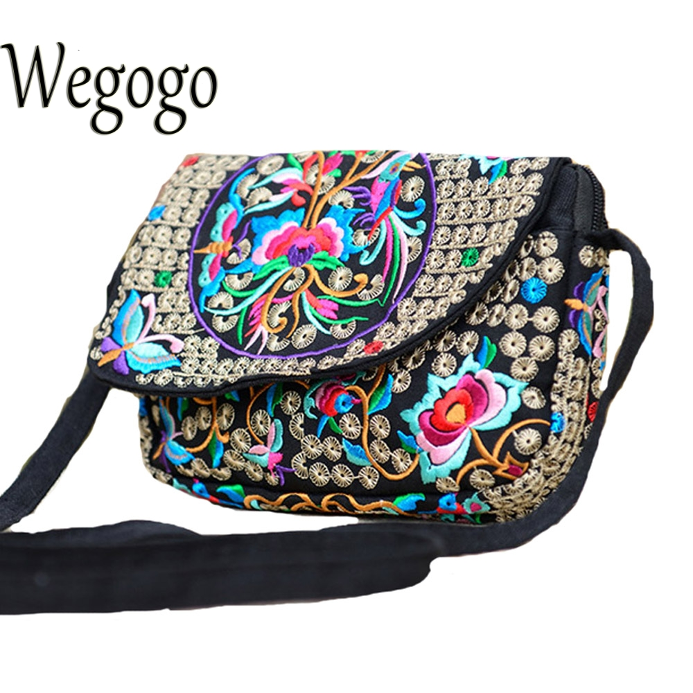 Wegogo Women Handbag Ethnic Hmong Boho Indian Embroidered Small Shoulder Messenger Bag Handmade Fabric Embroidery Crossbody Bag