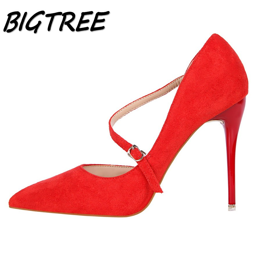 BIGTREE summer women Pointed Toe High heel shoes woman flock shallow pumps ladies Buckle Strap side hollow out Eur USA shoes women pumps flock high heels shoes woman fashion 2017 summer leather casual shoes ladies pointed toe buckle strap high quality