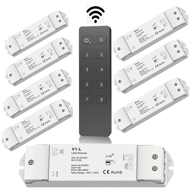 New Led Dimmer Controller RF Wireless Remote 8 Zone DC12-24V 15A 360W Constant Voltage Receiver 5050 3528 Strip Dimming V1-L+RU8