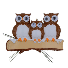Maxora Brown Yellow Owl Family Of 3 Resin Glossy Personalized Christmas Tree Ornaments PR279-5