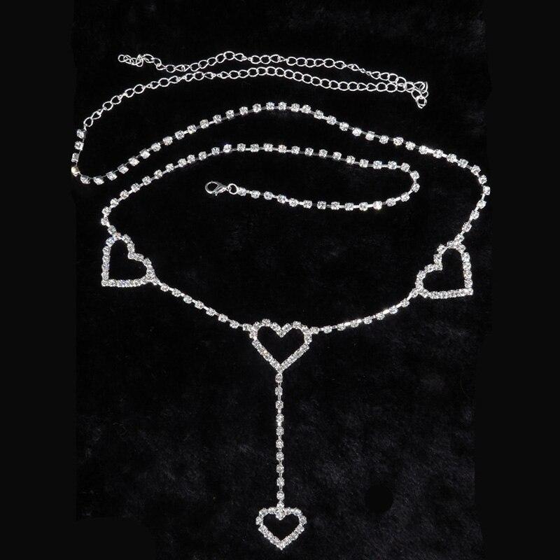 Women Mini Heart Belt Wedding Fashion Love Waist Chain Night Club Disco  Female Long Crystal Jeans Dress Rhinestone Belts 354-in Women s Belts from  Apparel ... 94e5c36a8311