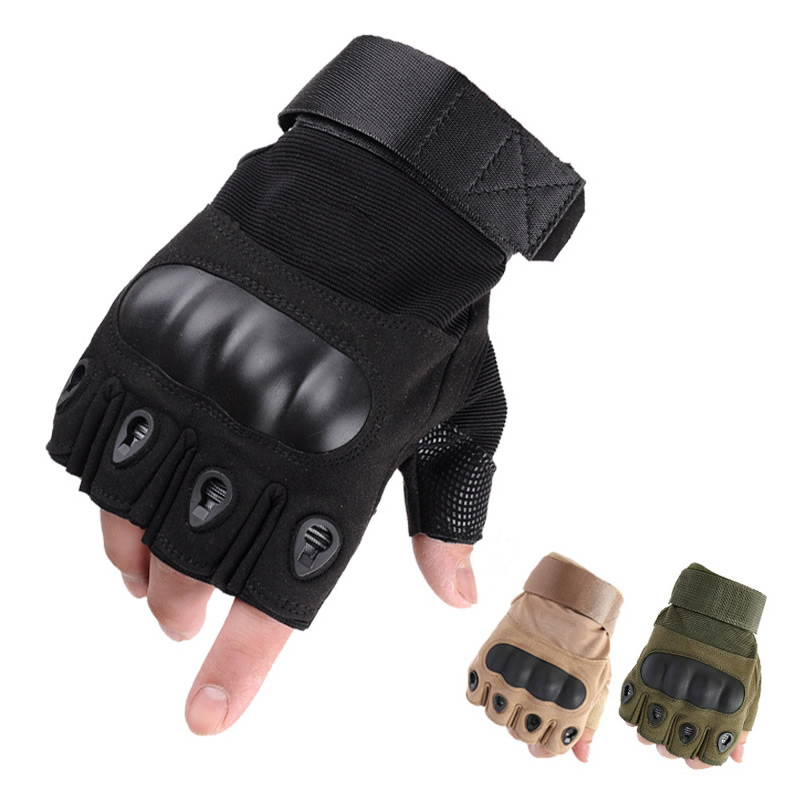 Half Finger Tactical Gloves Knuckle Enhanced Combat Military Gloves For Work Safety Outdoor Sport Hunt Riding Hands Protection