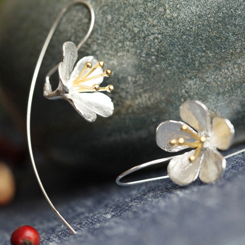 DIEERLAN 925 Sterling Silver Lotus Flower Drop Earrings for Women Brincos Pendientes Beautiful Jewelry Drop Shipping