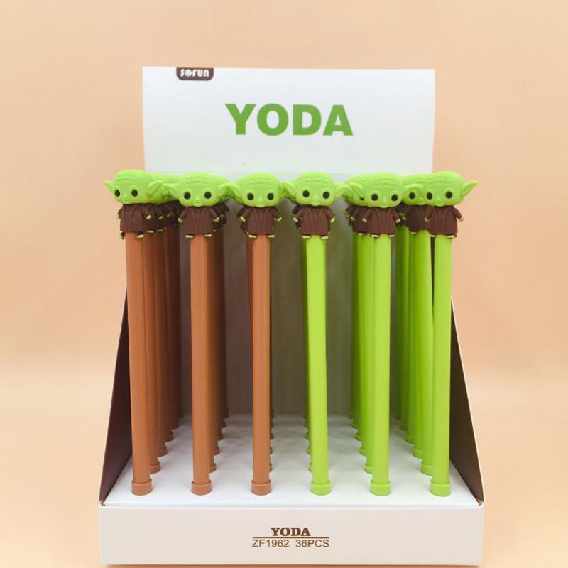4 Pcs/set Cute Stationery Kawaii Star Wars Yoda Gel Pens 0.5mm Black Colored Aliens Writing Pen Student Gift Supplies