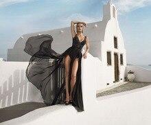 Sexy Seite Schlitzte Abendkleid 2016 Backless V-ausschnitt Spitze Chiffon Long Black Prom Kleid 2016