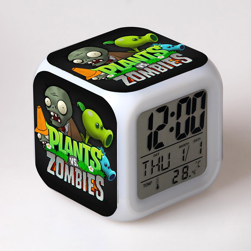 Plants Zombies Game figure Alarm Clock with LED Flash