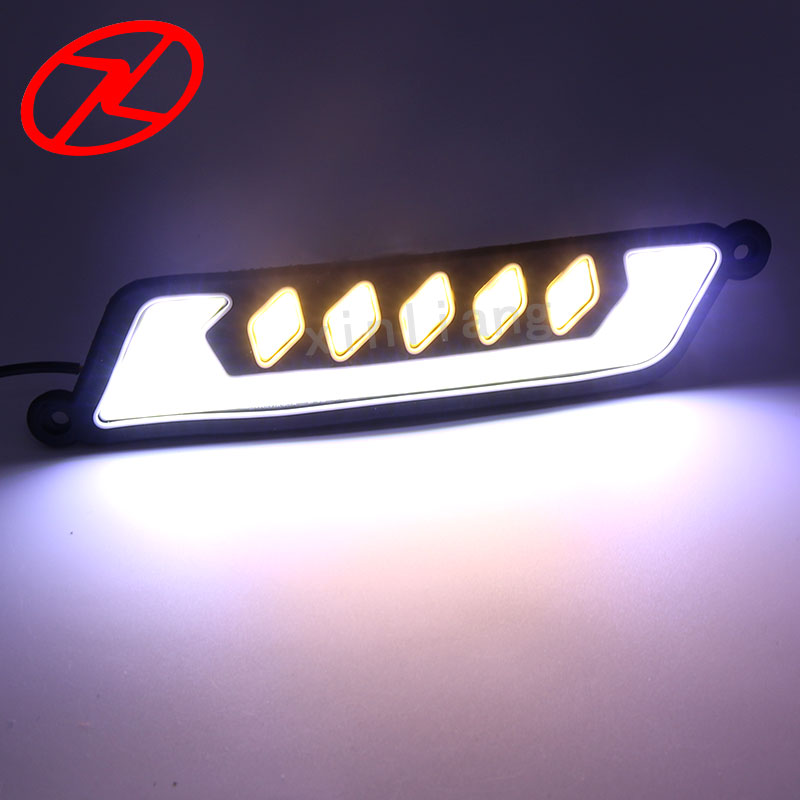 2PCS Flexible 12V LED COB Car DRL Fog Driving Daytime Running Lamp Yellow Turn Signal Light Waterproof suprer bright 2pcs 30cm 12v daytime running lights waterproof car drl cob driving fog lamp flexible led strip car styling