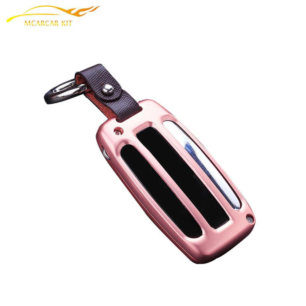 Aluminium Legierung Auto Schlüssel Shell Abdeckung schlüssel Fall Für Auto Mit Keychain Leder Für Land Range Rover/Entdeckung 4 /Evoque