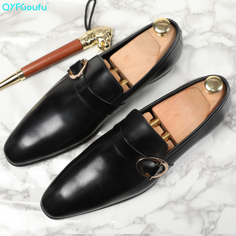 QYFCIOUFU 2019 Handmade buckle Fashion formal shoes Wedding Brand Male Double Monk Shoe Genuine Leather Mens oxford Dress Shoes in Formal Shoes from Shoes