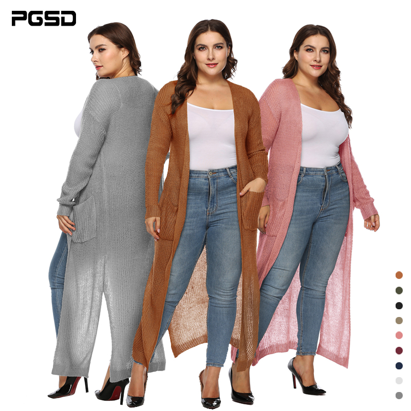 PGSD Big Size Women Clothes Simple Pure Color Long Sleeves Pocket Thickened Long Knitted Forking Sweater Cardigan Female XXXL