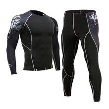 Erkek spor giyim koşu elbisesi sıkıştırma MMA döküntü bekçi erkek paçalı don kış termal iç çamaşır spor elbise marka giyim 4XL