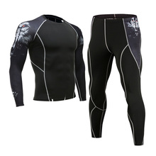 Mens Gym Clothing Jogging suit Compression MMA rashgard Male Long johns Winter Thermal underwear Sports suit Brand Clothing 4XL