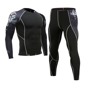 Image 1 - 男性のジム服ジョギングスーツ圧縮 mma rashgard 男性ロングジョンズ冬熱下着スポーツスーツブランド服 4XL