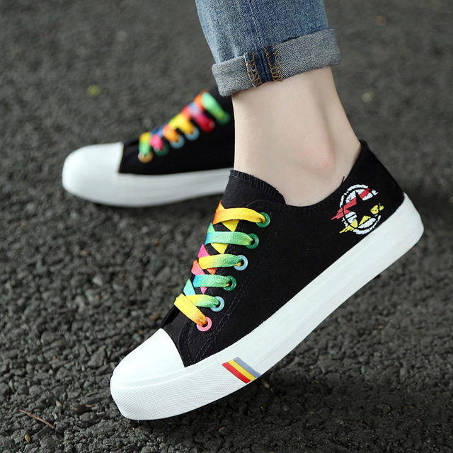 DAESPHETEL 2018 canvas running Shoes women students sneakers rubber sole lace-up