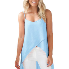 Vest Women Blouses Sexy Tanks Tops Female 2018 Chiffon Solid Light Blue  Green Cami Backless Fashion 373c31982cfd