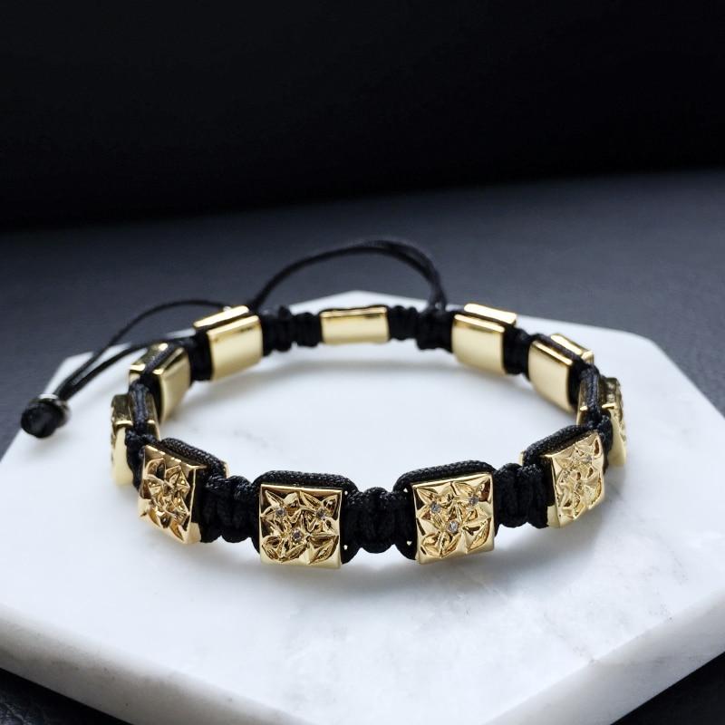 Magic Fish 2017 Brand Mens Bracelets Micro Paved CZ Beads Square Macrame Braiding Bracelet with Black White Cz Beads magic fish bracelets