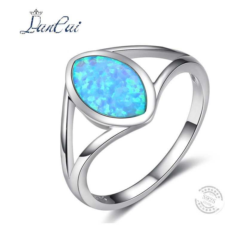 Fine Jewelry 100% 925 Sterling Silver Ring Classic Simple Style Ring Blue Fire Opal Stone Engagement Ring S925 for Women