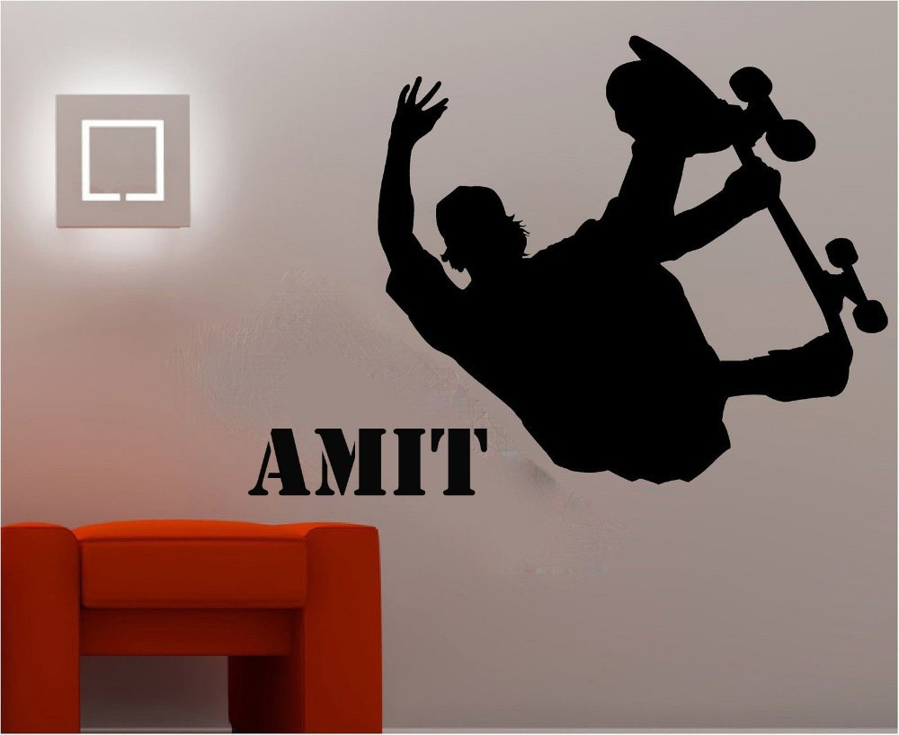 skateboard wall stickers quotes amit vinyl removable diy wall decals for boys bedroom kids room cool boy love sports wall murals