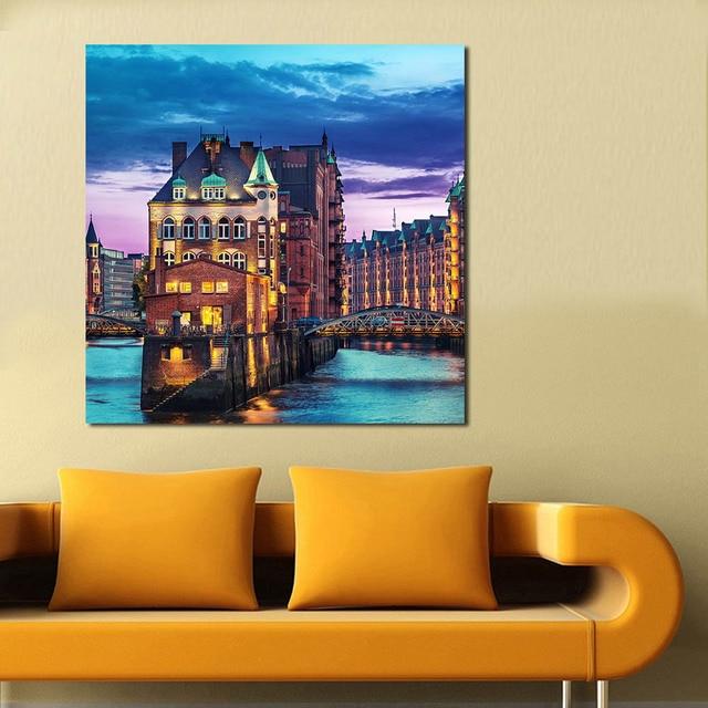 qcart hamburg deutschland stadt moderne wandbilder für wohnzimmer ... - Moderne Wandbilder Für Wohnzimmer