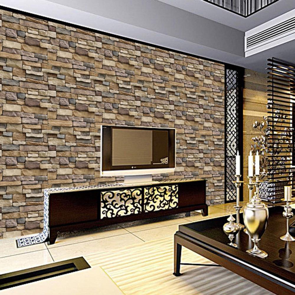 45x100 cm 3d papel pintado decorativo decalques de pared ladrillo piedra r stica adhesivo - Papel autoadhesivo decorativo ...