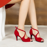 Woman Ballroom Latin Dance Shoes Red Salsa Sandals Female Social Party Tango Dance Shoes High Heels 6/7.5/8.5cm Soft Sole 1801