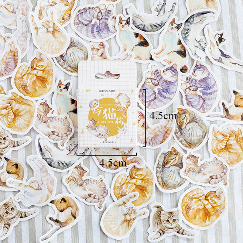 45Pcs/Box Cute Cat Sticker Kawaii Stationery Sticker Cartoon Adhesive Stickers For Decorative Scrapbooking DIY Diary Photo Album