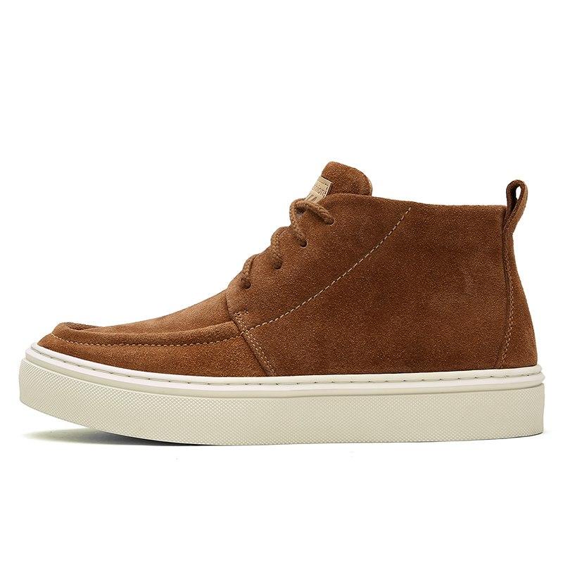 Cheville Hiver De Travail Haute Chaussures Noir Homme Qualité dark Brown light Mode Brown Hommes À Bottes Lacets Automne Cuir Véritable wPgxIqYXf